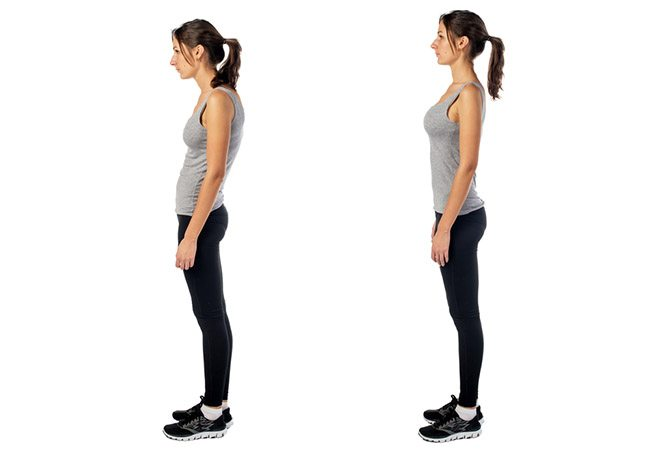 a lady demonstrates good vs bad posture