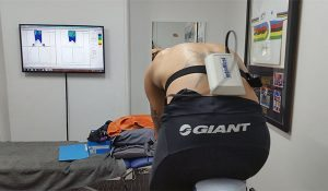 Brant showing saddle pressure during a Star Physio Bikefit assessment